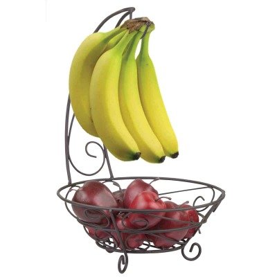 Home Basics Scroll Collection Steel Bronze Fruit Basket With Banana Tree