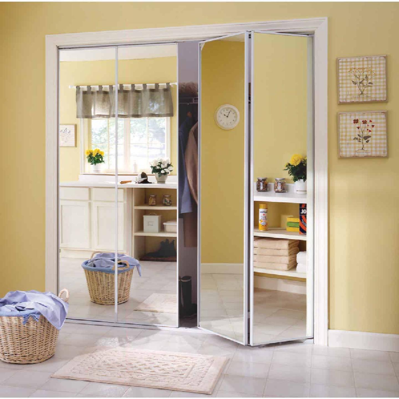 Erias Series 4400 24 In. W. x 80-1/2 In. H. Steel Frame Mirrored White Bifold Door Image 1