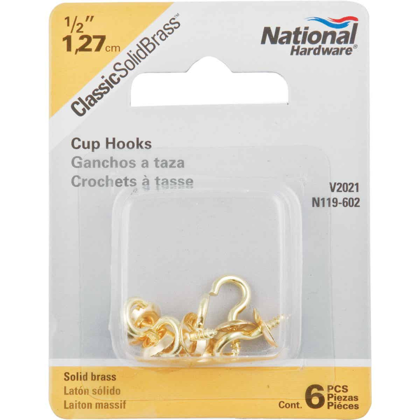 National V2021 1/2 In. Solid Brass Series Cup Hook (6 Count) Image 2