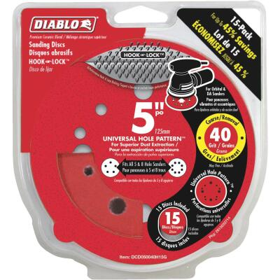 Diablo 5 In. 40-Grit Universal 12-Hole Vented Sanding Disc with Hook and Lock Backing (15-Pack)