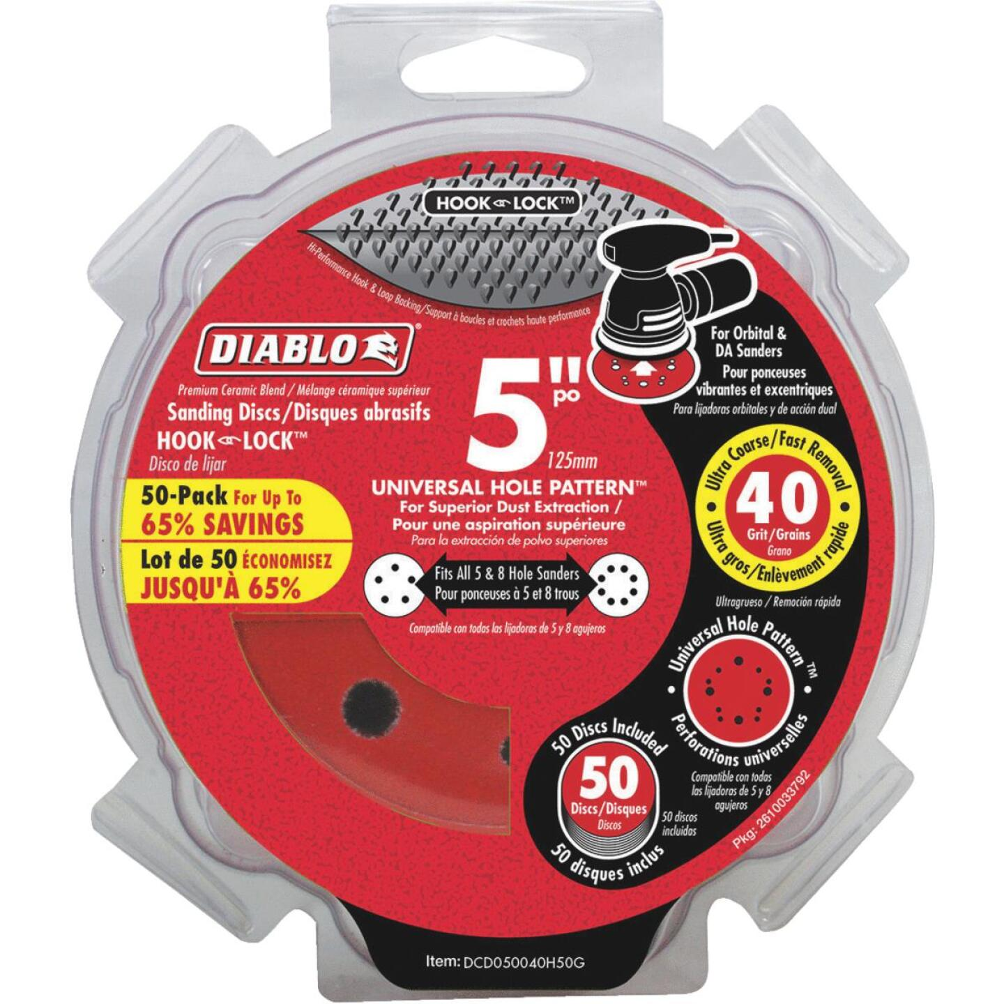 Diablo 5 In. 40-Grit Universal 12-Hole Vented Sanding Disc with Hook and Lock Backing (50-Pack) Image 1