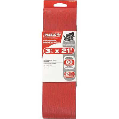 Diablo 3 In. x 21 In. 80 Grit General Purpose Sanding Belt (2-Pack)