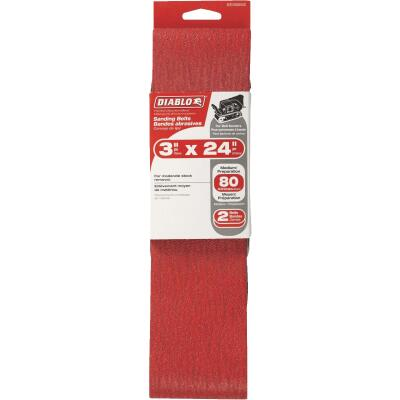 Diablo 3 In. x 24 In. 80 Grit General Purpose Sanding Belt (2-Pack)