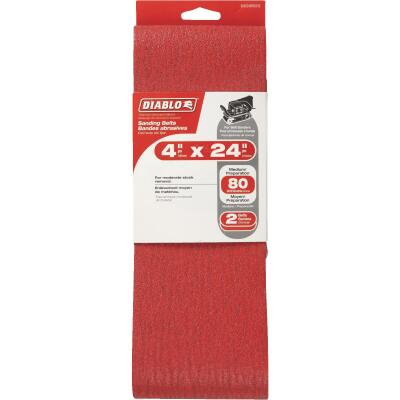 Diablo 4 In. x 24 In. 80 Grit General Purpose Sanding Belt (2-Pack)