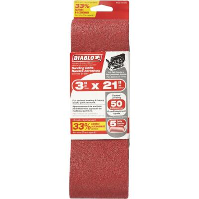 Diablo 3 In. x 21 In. 50 Grit General Purpose Sanding Belt (5-Pack)