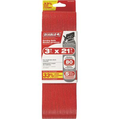 Diablo 3 In. x 21 In. 80 Grit General Purpose Sanding Belt (5-Pack)