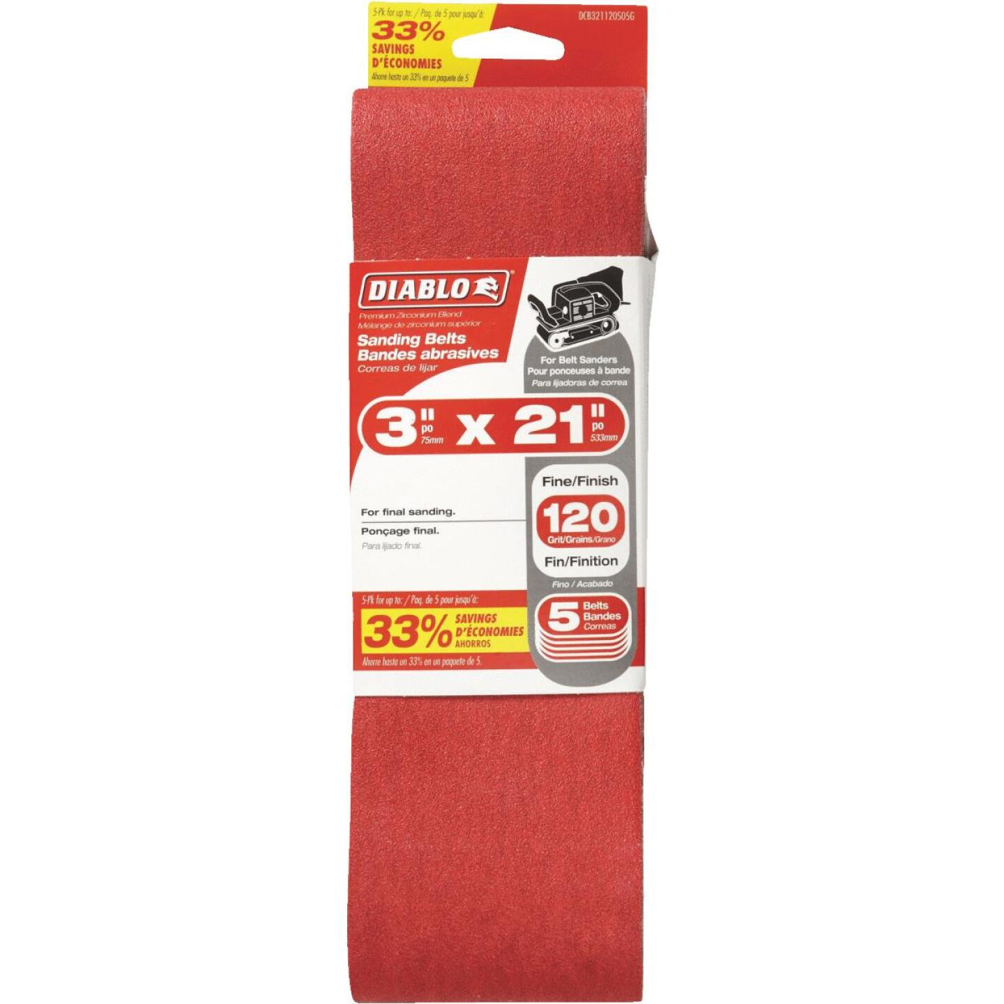 Diablo 3 In. x 21 In. 120 Grit General Purpose Sanding Belt (5-Pack) Image 1