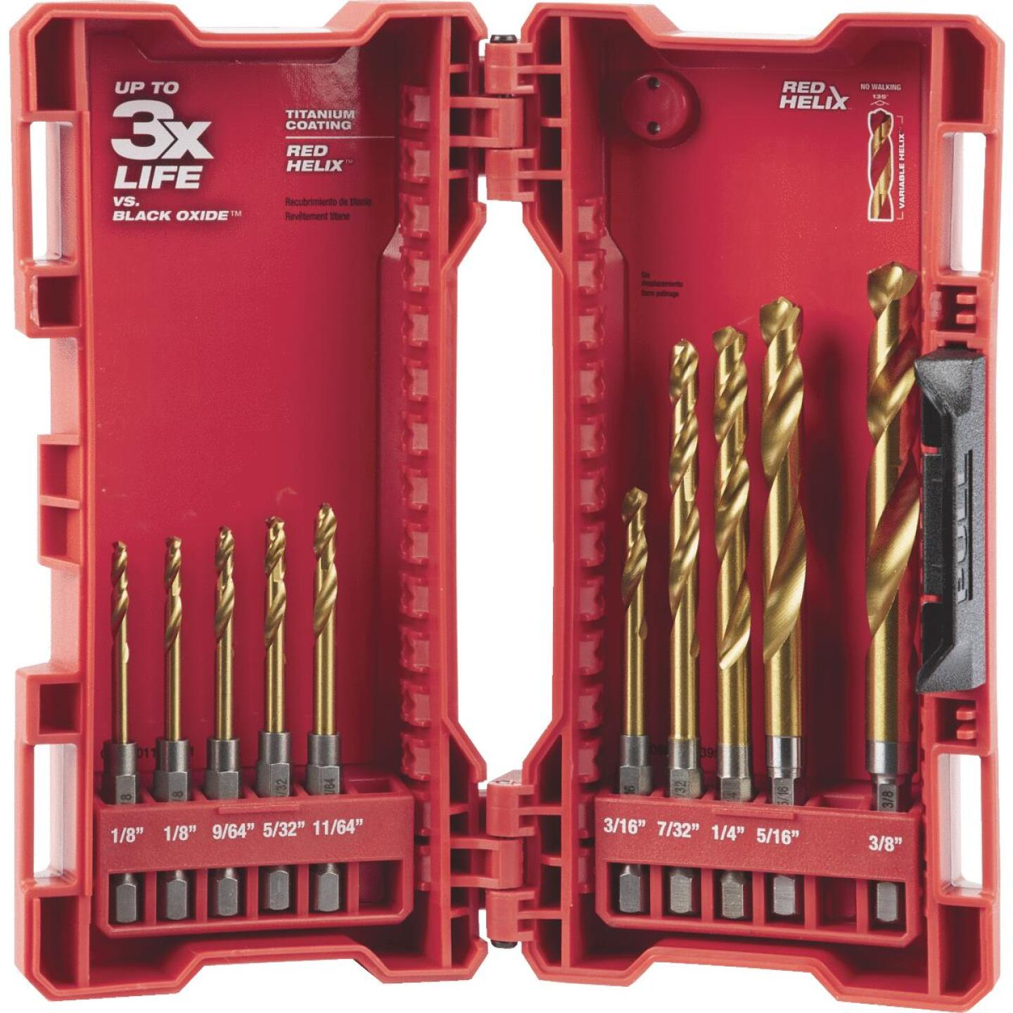 Milwaukee Shockwave 10-Piece Impact Duty Titanium Hex Shank Drill Bit Set, 1/8 In. thru 3/8 In. Image 1