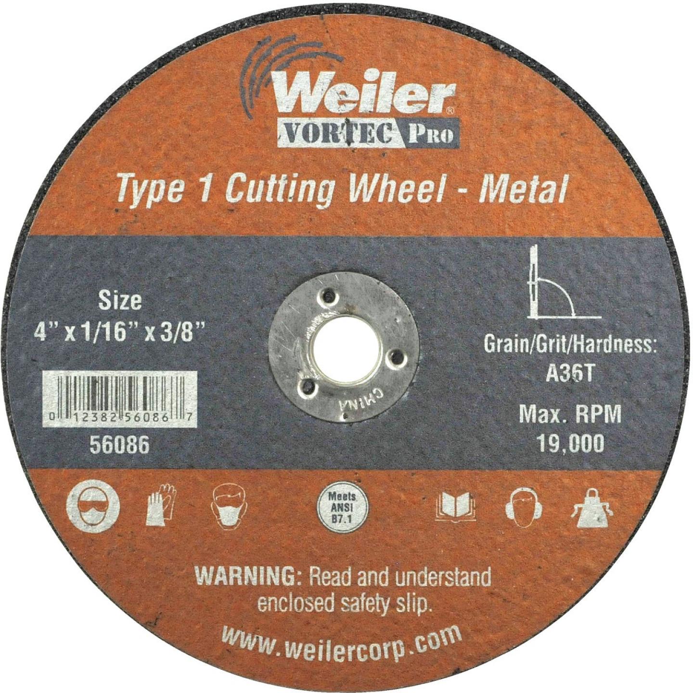 Weiler Vortec Type 1 4 In. x 1/16 In. x 3/8 In. Metal/Plastic Cut-Off Wheel Image 1