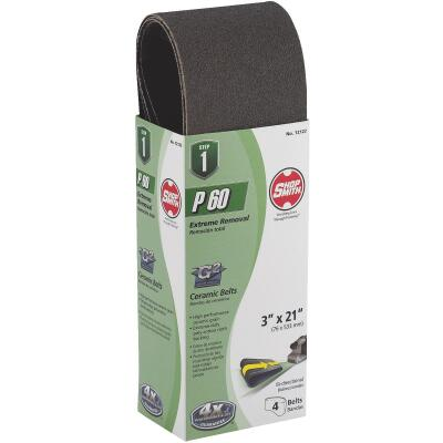 Gator Blade 3 In. x 21 In. 60 Grit Heavy-Duty Sanding Belt (4-Pack)