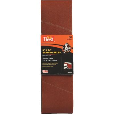 Do it Best 3 In. x 24 In. 80 Grit Dual Direction Sanding Belt (5-Pack)