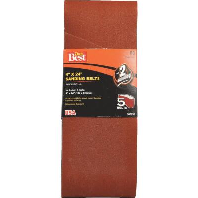 Do it Best 4 In. x 24 In. 80 Grit Dual Direction Sanding Belt (5-Pack)