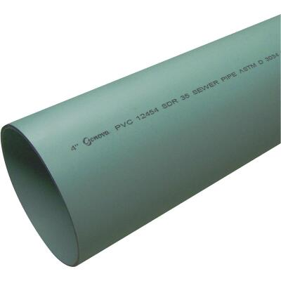 Charlotte Pipe 4 In. x 10 Ft. Solid SDR35 PVC Drain & Sewer Pipe, Belled End