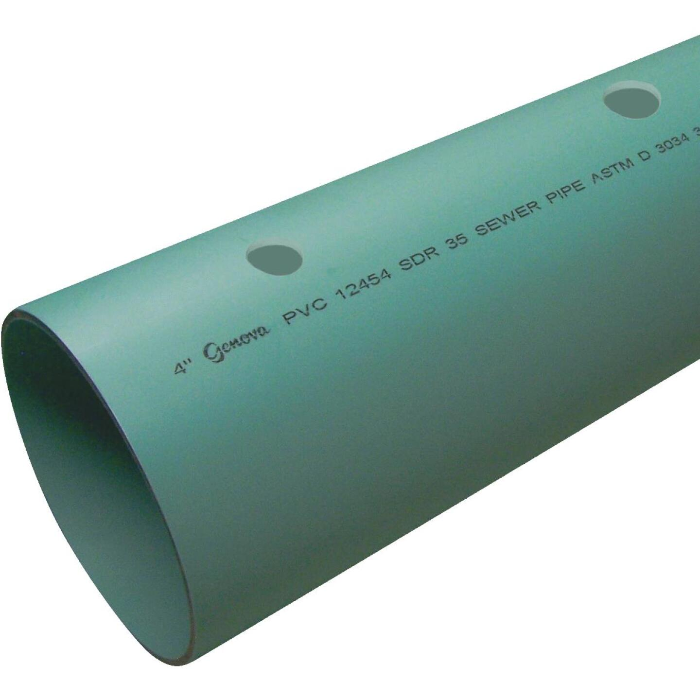 Charlotte Pipe 4 In. x 10 Ft. Perforated SDR35 PVC Drain & Sewer Pipe, Belled End Image 1