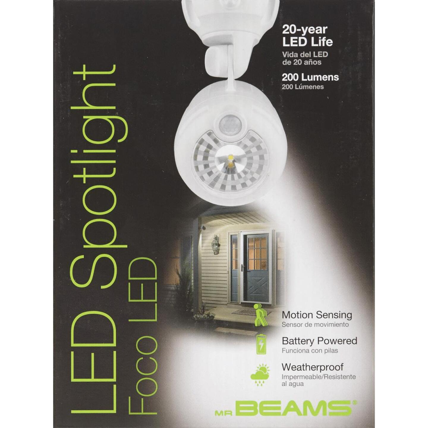 Mr. Beams XT 200-Lumen White Motion Sensing/Dusk-To-Dawn Spotlight Outdoor Battery Operated LED Light Fixture Image 2