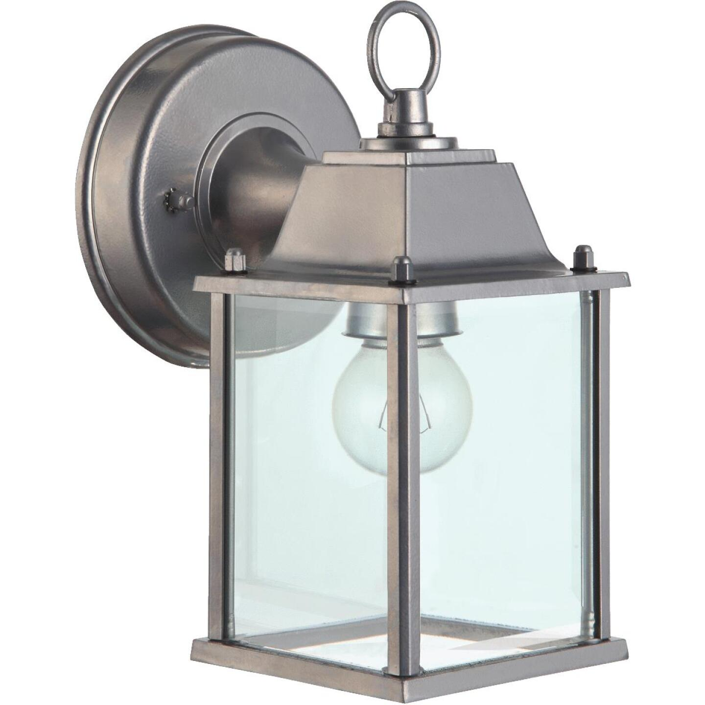 Home Impressions 100W Incandescent Brushed Nickle Lantern Outdoor Wall Light Fixture Image 1