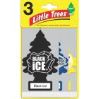 Little Trees Car Air Freshener, Vanillaroma, Black Ice, & New Car Scent (3-Pack) Image 1