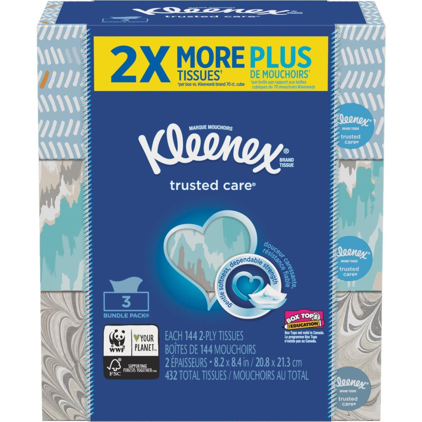 Kleenex Trusted Care 145 Count 2-Ply White Facial Tissue (3-Pack) Image 1