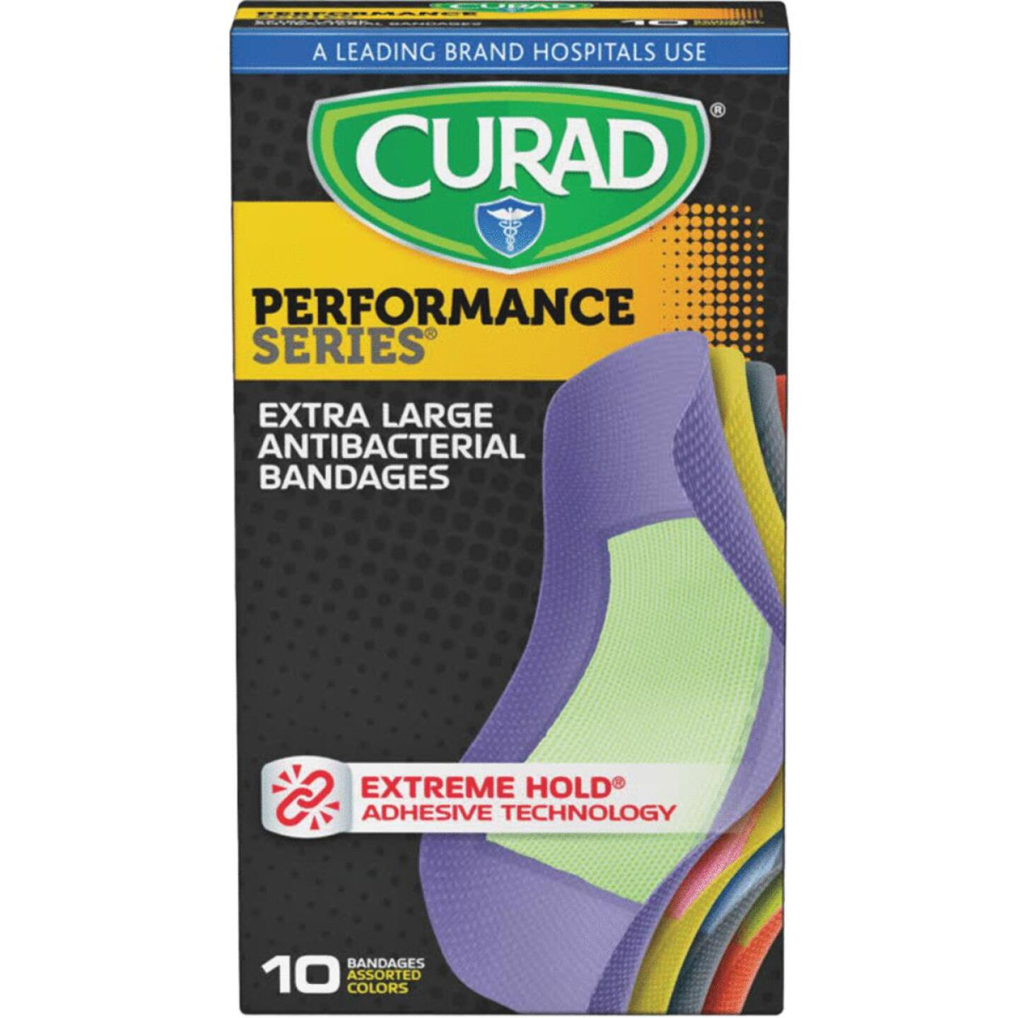 Curad Performance Series Antibacterial Bandages, XL, 2 In. x 4 In., Assorted Colors (10 Ct) Image 1