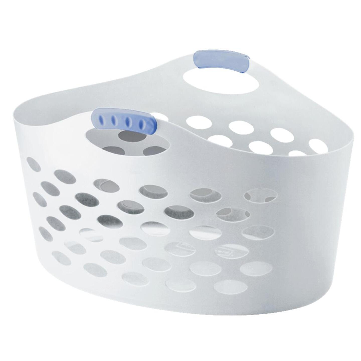 Rubbermaid Flex 'N Carry White Laundry Basket Image 1