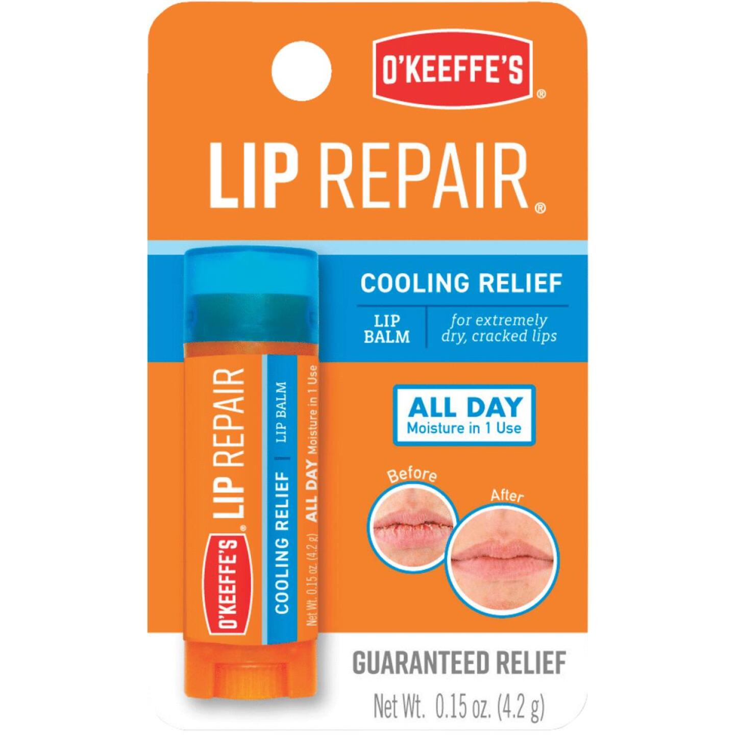 O'Keeffe's Cooling Relief Unflavored Lip Balm, 0.15 Oz. Image 1