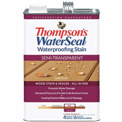 Thompsons WaterSeal Semi-Transparent Waterproofing Stain, Maple Brown, 1 Gal.