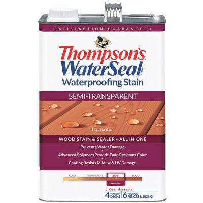 Thompsons WaterSeal Semi-Transparent Waterproofing Stain, Sequoia Red, 1 Gal.