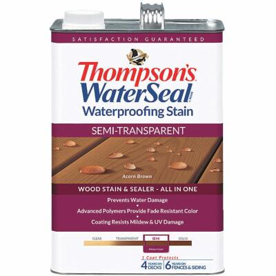 Thompsons WaterSeal Semi-Transparent Waterproofing Stain, Acorn Brown, 1 Gal.