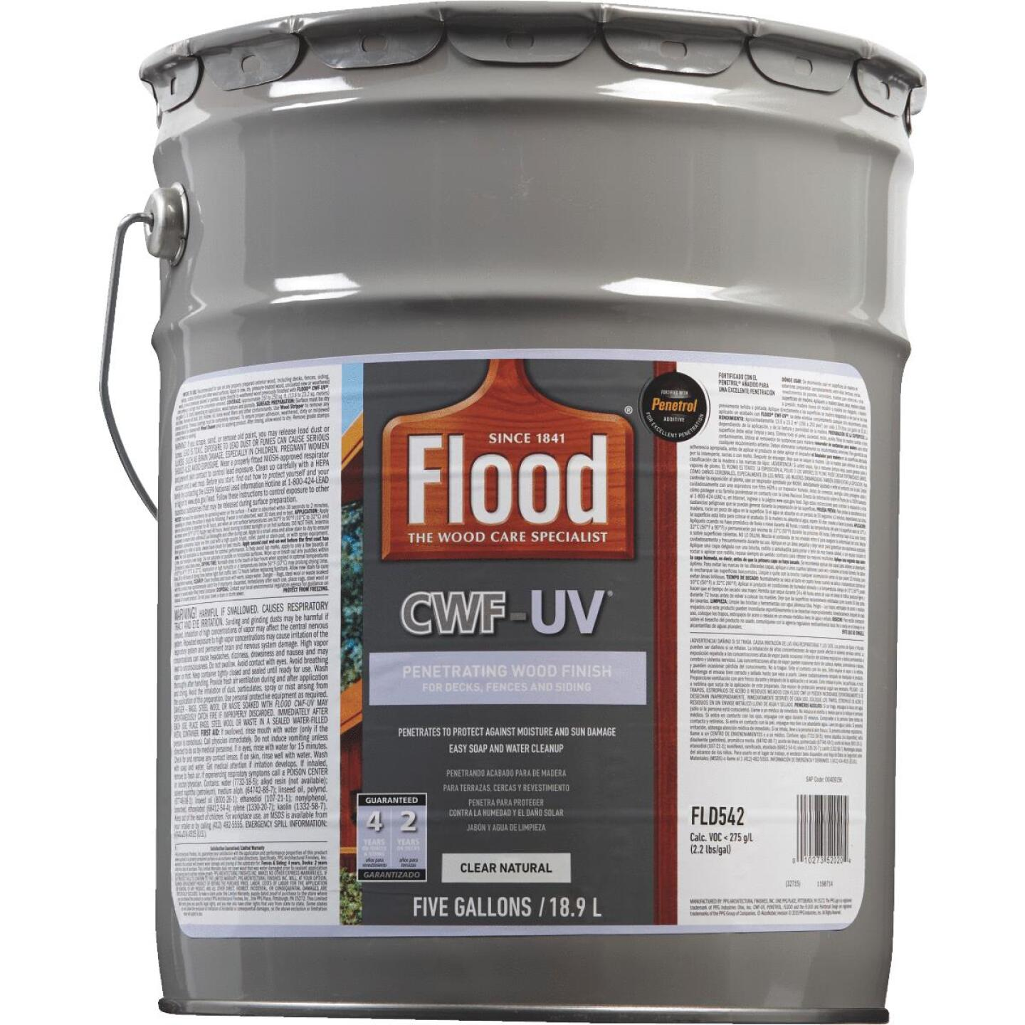 Flood CWF-UV Oil-Modified Fence Deck and Siding Wood Finish, Natural, 5 Gal. Image 2