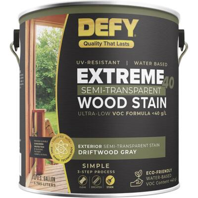 Defy Extreme 40 VOC-Compliant Semi-Transparent Exterior Wood Stain, Driftwood Gray, 1 Gal.