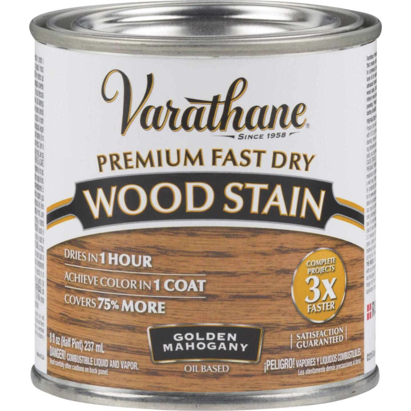 Varathane Fast Dry Golden Mahogany Urethane Modified Alkyd Interior Wood Stain, 1/2 Pt. Image 1