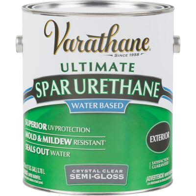 Varathane Semi-Gloss Clear Water Based Exterior Spar Urethane, 1 Gal.