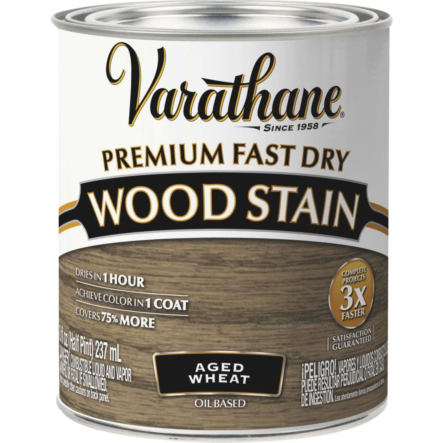 Varathane Fast Dry Aged Wheat Urethane Modified Alkyd Interior Wood Stain, 1/2 Pt. Image 1