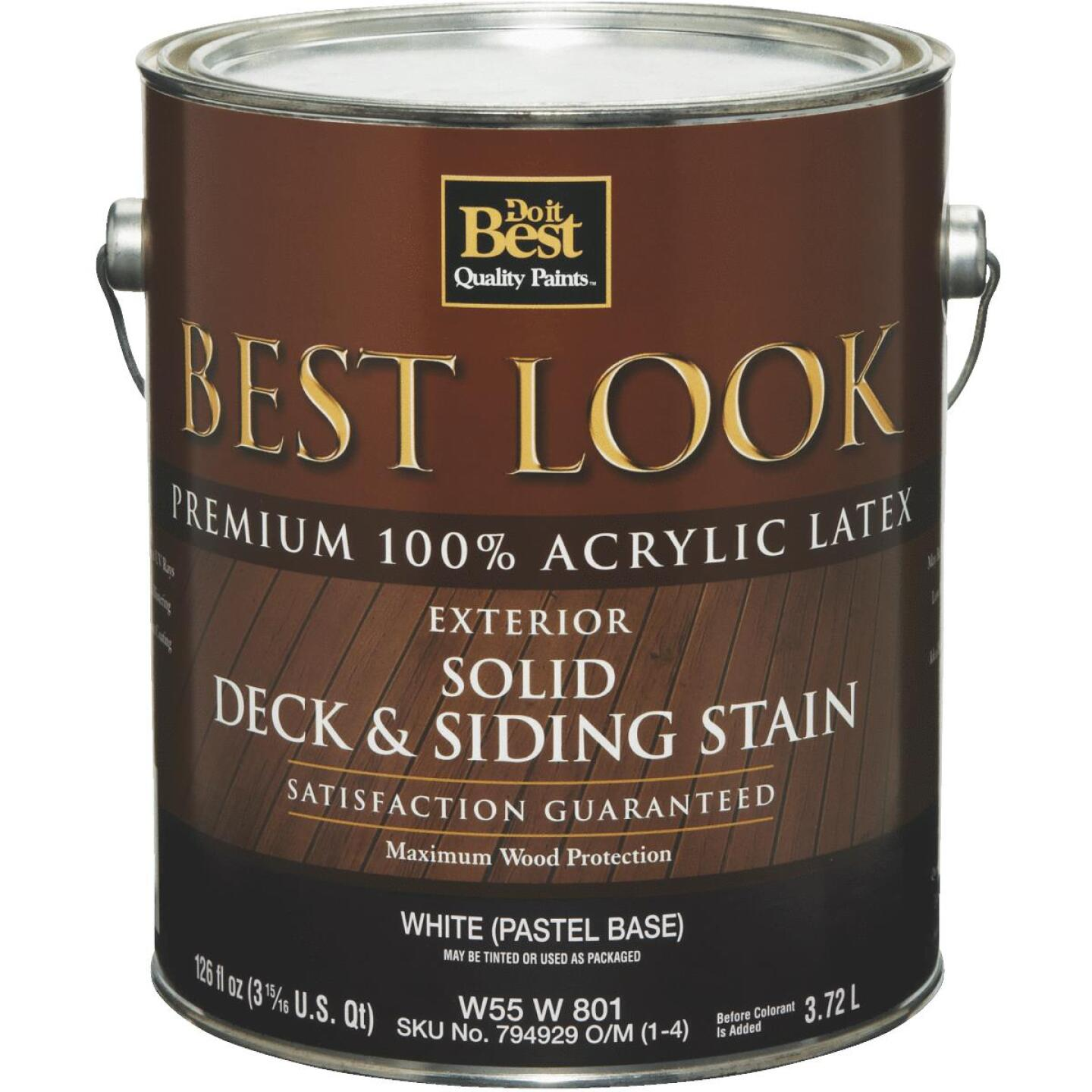 Best Look Solid Deck & Siding Exterior Stain, White Pastel Base, 1 Gal. Image 1