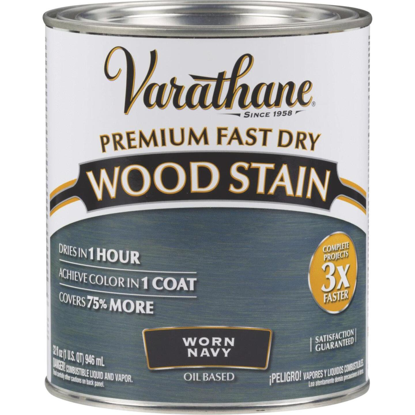 Varathane Fast Dry Worn Navy Urethane Modified Alkyd Interior Wood Stain, 1 Qt. Image 1